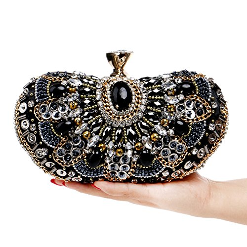 Clutch For Wedding Dress Evening Bridal Package Black Women's Bag Party Bag Clutch Dinner Crystal Evening Prom wwq8zfI