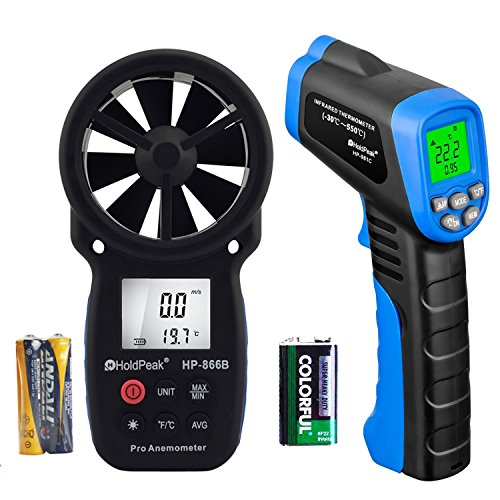 - HOLDPEAK 866B Digital Anemometer Handheld Wind Speed Meter + 981C Non-Contact Digital Laser Infrared Thermometer -58 to 1022℉ (-50 to 550℃) with Adjustable Emissivity (2Pack)