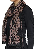 Seamaidmm Women's Fashion Rose Embroidered Long Scarf w/ Lace Trim Coffee+Black
