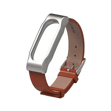 Xiaomi cuero Band 2 Pulsera Correa para Xiaomi Mi Band 2 con la caja del reloj de metal magnético sin tornillos (Café): Amazon.es: Hogar