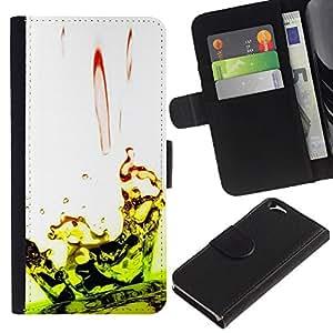 KingStore / Leather Etui en cuir / Apple Iphone 6 / Caída Ripple Lime Green White