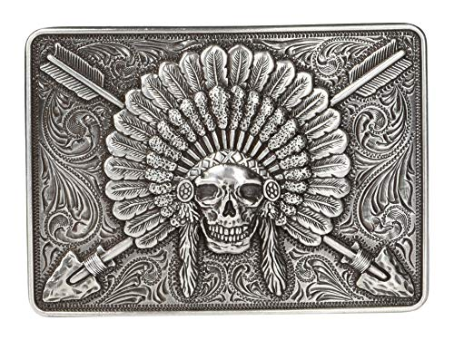 Ariat Men's Rectangle Chief Skull Buckle Antique Silver One Size