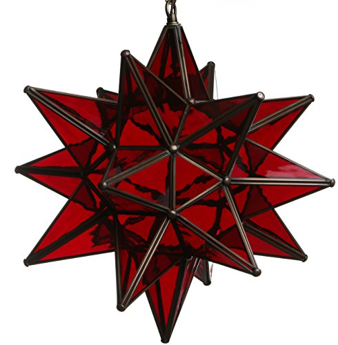 15 Inch Hanging Red Glass Star Pendant Lamp