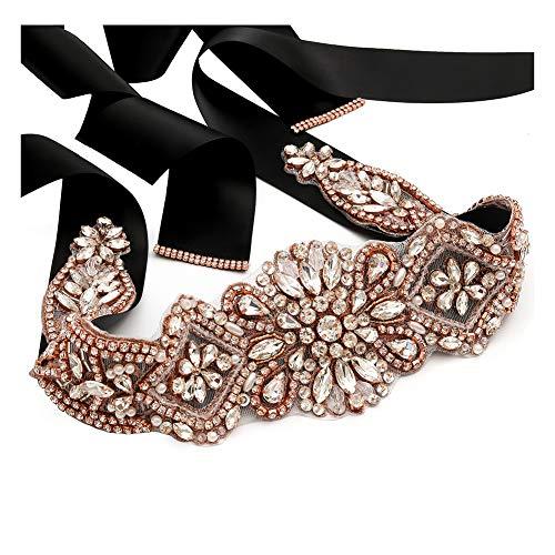 Yanstar Handmade Rose Gold Rhinestone Crystal Wedding Bridal Belt Sash With Black Ribbon Sashes for Evening Party Prom Bridesmaid Dress