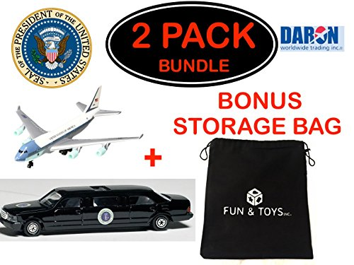 Daron Air Force One Plane and Air Force One Presidential Limo Die-cast Models with Bonus Storage Bag - Exclusive Gift Set Bundle - 2 Pack