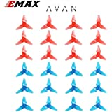 24PCS Emax Avan 2 inch 3-Blades Propeller CW CCW,Durable PC Material,Best Match for Original Babyhawk for 1104 1105 1106 Brushless Motor FPV Racing Drone Quadcopter (Clear Blue & Clear Red)