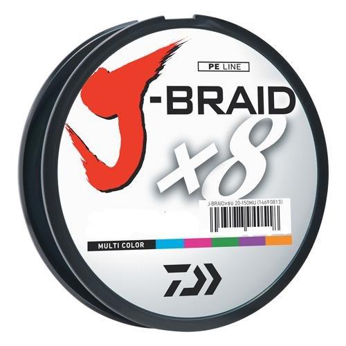 Daiwa J-Braid 300M 8-Strand Woven Round Braid Line, Multicolor, 30 lb