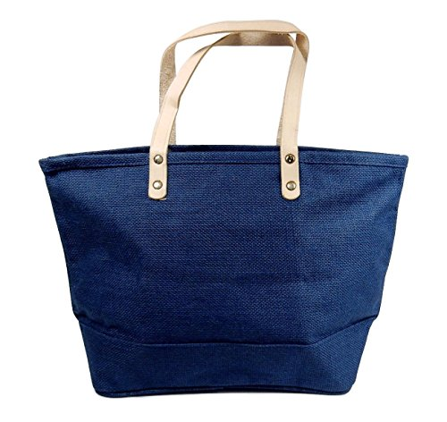 (Jute Tote Bag With Leather Handles - Burlap Purse, Handbag - Navy Blue.)