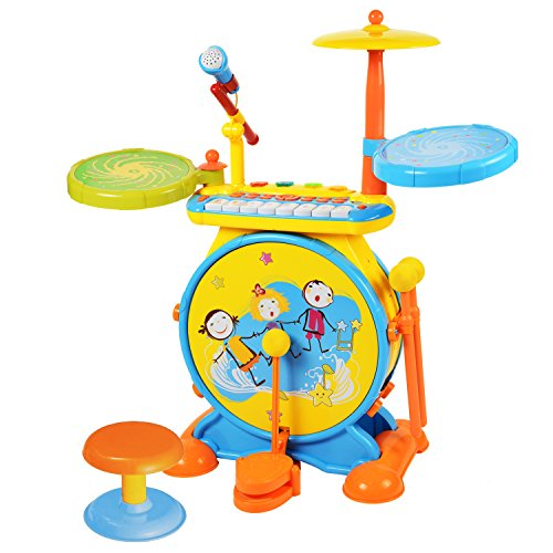BAOLI 2-in-1 Children Musical Instrument Boy & Girl Electronic Rock Roll Jazz Drum Kit Set with Piano Keyboard and Microphone and Stool