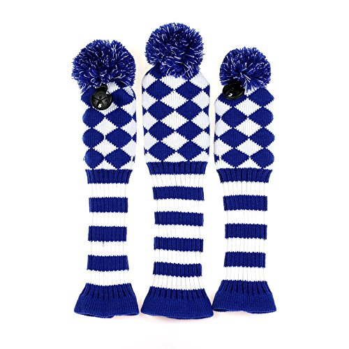 Volf Golf Driver Fairway Woods Club Knit Headcover Set Blue/White Diamond Knit Pom Pom Sock headcovers Set of - Headcovers Pack 3 Sock