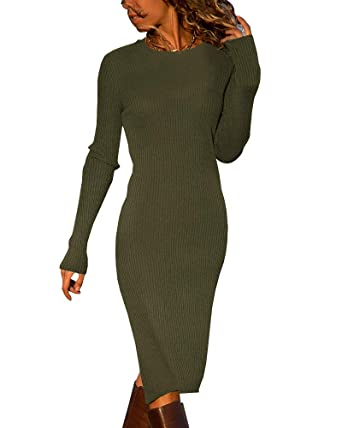 1c01b2206a Ybenlow Womens Bodycon Sweater Dresses Casual Slit Long Sleeve Ribbed Knit  Crewneck Midi Dress