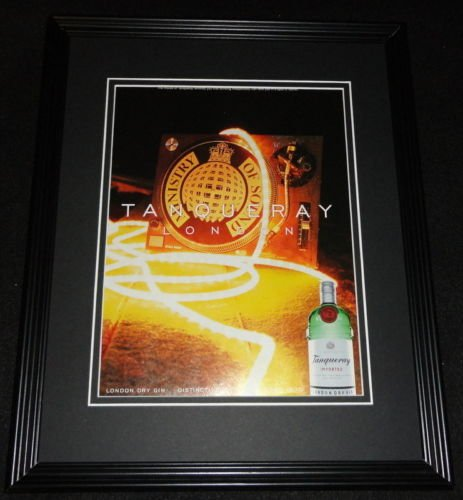 1999 Tanqueray London Dry Gin Framed 11x14 ORIGINAL - Gin Dry Tanqueray