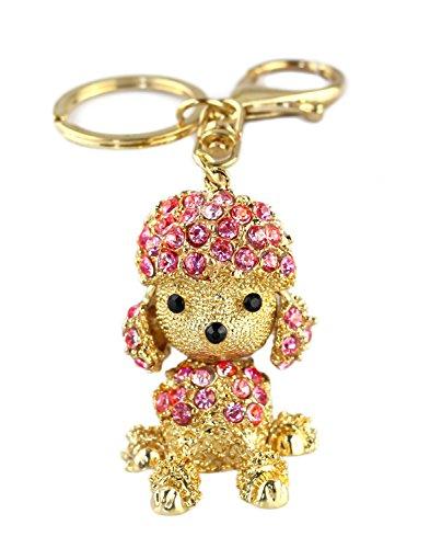 BeeChamp Cute Poodle Dog Sparkling Blingbling Diamond Crystal Rhinestone Keychain Keyring Key Chain Purse Handbag Bag Car Pendant Hanging Charm (Pink) (Rhinestone Poodle Pink)