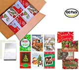 100 Wholesale Traditional Christmas Cards with Envelopes: Classic Holiday Designs, General Audience, on Recycled Paper (30 Designs)