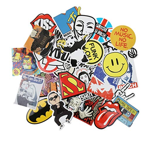 (NAVAdeal Assorted 30 Pack Rock N Roll Music Vinyl Stickers – Perfect for Suitcase Skateboard Laptop, Luggage, Great Gift Idea.)