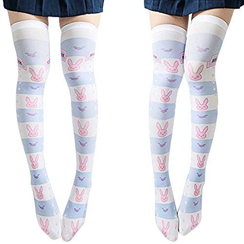 SzBlaZe Summer Thin Velvet Women's Kawaii Anime Print Slim Over the Knee Stockings (Pack of 1 Pair) Suit For Size 35 to 38 (D.VA Print 2)