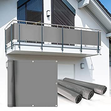 Amazon De Balkon Sichtschutz 6x0 75m Hellgrau Balkonsichtschutz