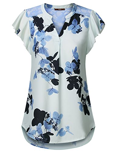 Lace Nylon Blouse - Gaharu Printed Blouses for Women, Short Sleeve Tunic Top to Wear with Leggings Lace T Shirts Tops Notch Neck Cool Loose Fit Chiffon Summer Tops Light Blue,X-Large