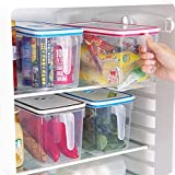 SAIVECH Food Storage Containers (2 Piece) Plastic Freezer Containers - Airtight & Reusable Refrigerator Organizer Set - Plastic Food Storage Boxes with Handles and Date Tables