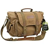 Evecase Large Canvas Messenger DSLR Camera Bag w/Rain Cover for Canon EOS 5DS R, 5DS, 70D, 60D, 60Da, 6D, 7D Mark II, 5D Mark III/Mark II, 50D, 40D, SL1, T6i, T6s, T5i, T5, T4i, T3, T3i, T2i, T1i, XSi, XTi, XS - Brown
