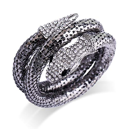 OUMOU Snake Bracelet Rhinestone Curved Open Cuff Flexible Stretch Snake Bangle Crystal Diamond Snake Wrap Bracelet for Women