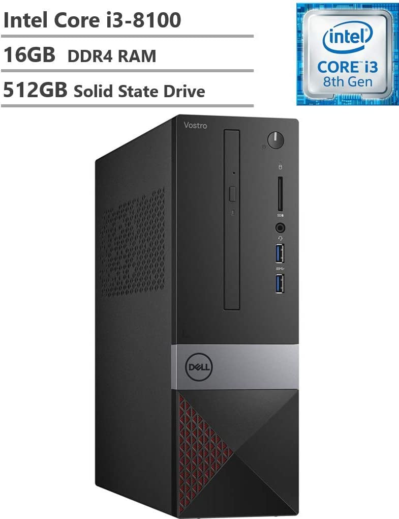2019 Dell Vostro 3470 Small Business Desktop, Intel Core i3-8100, 16GB DDR4 RAM, 512GB SSD, WiFi, Bluetooth, HDMI, VGA, DVD-RW, Multi-Card Reader, Windows 10 Pro
