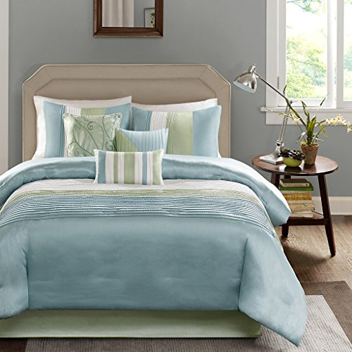 Comforter Sets Matching Curtains - Madison Park Amherst Queen Size Bed Comforter Set Bed in A Bag - Green, Aqua, White, Pieced Stripes – 7 Pieces Bedding Sets – Ultra Soft Microfiber Bedroom Comforters