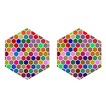 Buy Mooch Wale Colorful Beehive Hex Grid Pattern Set Of 2 Hexagon