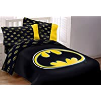 Batman Emblem 5 Piece Reversible Super Soft Luxury Full Size Comforter Set W/Matching Area Rug