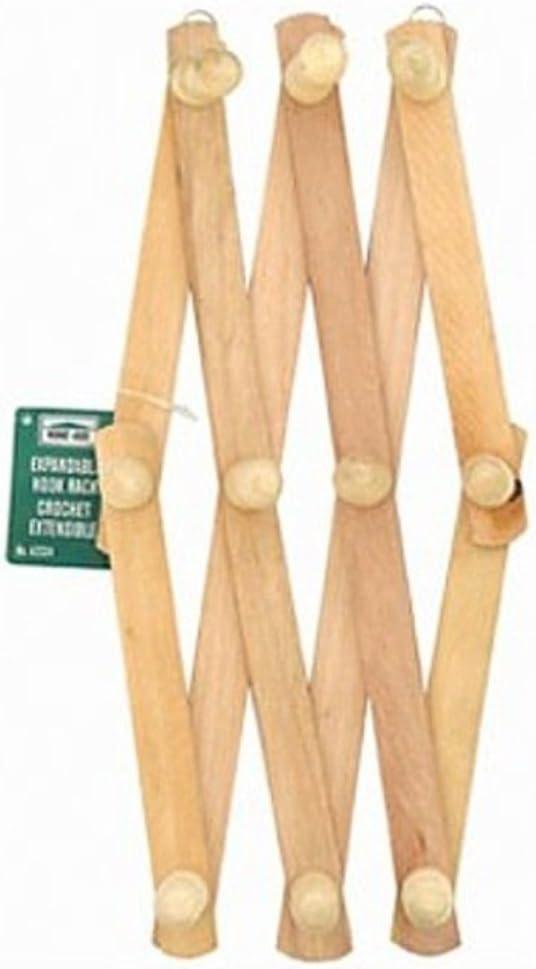 Home-Aide Expandable Hook Wood Wall Peg Rack - Wooden