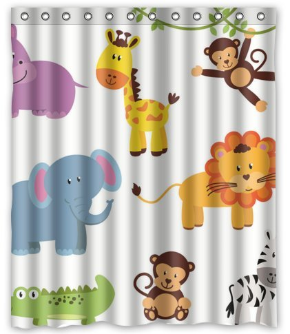 Standard Store Custom Cute Elephant Giraffe And Monkey Shower Curtain 60quot