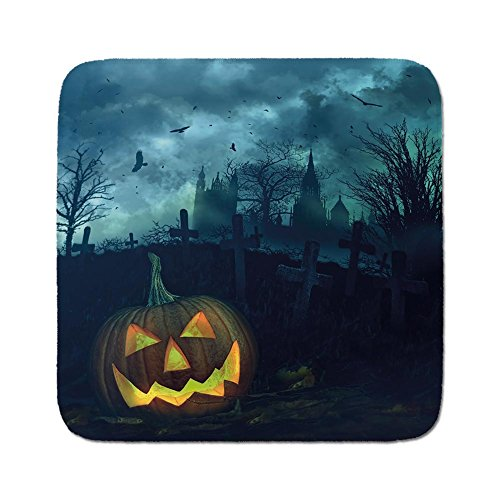 Cozy Seat Protector Pads Cushion Area Rug,Halloween,Halloween Pumpkin in Spooky Graveyard Eerie Gloomy Stormy Atmosphere,Petrol Blue Yellow,Easy to Use on Any Surface -