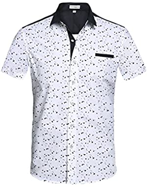 Mens Slim Fit Fashion Short Sleeve Print Button Down Casual Shirts