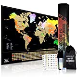Scratch Off Poster of The World - Unique Gold Foil Map Watercolor Poster of The World with All US States Outlined - 17 X 24 World Map Perfect to Track All of Your Travel Highlights