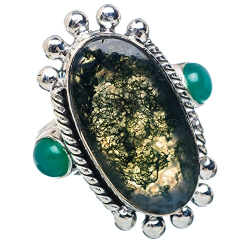 Large Green Moss Agate, Green Onyx Ring Size 8 (925 Sterling Silver) - Handmade Boho Vintage Jewelry RING883318 ()