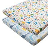 ALVABABY Pack n Play Baby Play Playard Sheets, 2pcs 100% Organic Cotton,Large 27x39x4,Soft and Light,Portable Crib Sheet for Boys and Girls Player Matteress 2FTPSW16