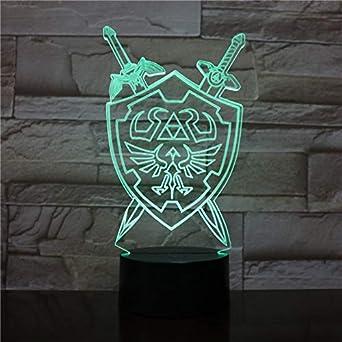 Luces de la noche 3D La leyenda de Zelda Lámpara de mesa Juego de anime Respiración de lo salvaje Ilusión visual 3D Luces LED Navidad: Amazon.es: Iluminación