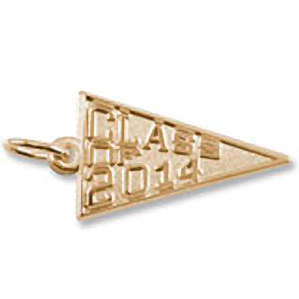 10k Yellow Gold Class Of 2014 Charm Charms for Bracelets and Necklaces