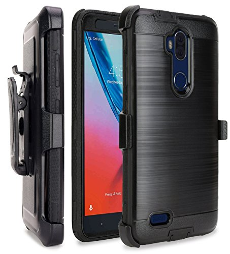 Price comparison product image ZTE MAX XL Case, ZTE Max Blue Case(Z986DL), ZTE Blade Max 3 Case, NageBee [Brushed Metal] Heavy Duty Full-body Rugged Holster Armor Case [Belt Clip][Kickstand] -Black