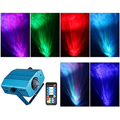 Spriak Projector Strobe Light Disco Dj Party Stage Halloween Christmas Lighting Ocean Moving Stage Lights with Remote Control(Blue)