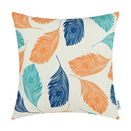 CaliTime Canvas Throw Pillow Cover Case for Couch Sofa Home, Peacock Feathers 18 X 18 Inches, Orange Turquoise Blue (Home Blue Decor Orange And)