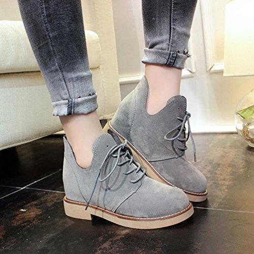 Tefamore Zapatos Martín Mujer Estilo británico Botas de Casual de Anti-deslizante de Suave Moda Otoño Invierno Gris