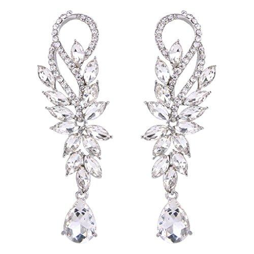 BriLove Womens Fashion Bridal Crystal Marquise Shape Teardrop Chandelier Dangle Pierced Earrings