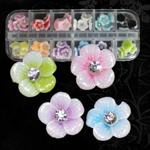 JASSINS 12 Colors 3D Acrylic Flowers 10mm with Glitter Coating for Nail Art Decoration