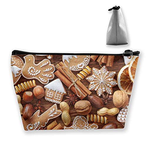 Makeup Bag Cosmetic Nuts Cookies Christmas Portable Cosmetic Bag Mobile Trapezoidal Storage Bag Travel Bags with Zipper -