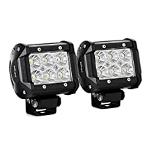 Nilight 2 X 18w 1260lm Cree LED Flood Beam 60° Driving Fog Light Led Work Light Bar Mounting Bracket for SUV Boat 4x4 Jeep Lamp