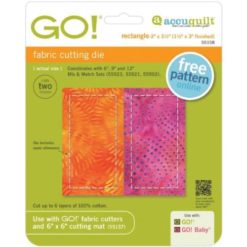 AccuQuilt 55158 GO! Fabric Cutting Dies-Rectangle 1-1/2X3