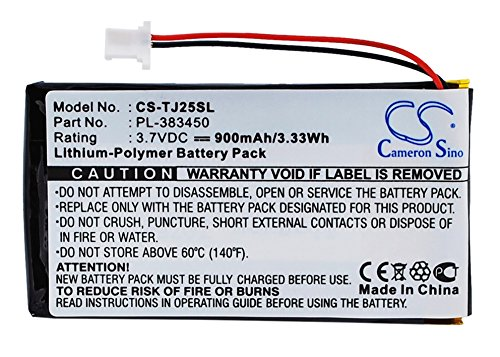 Cameron Sino Li-Polymer 3.70V 900mAh PDA Replacement Battery Compatible With Sony PL-383450, Fits Sony Clie PEG-TJ25/Clie PEG-TJ35