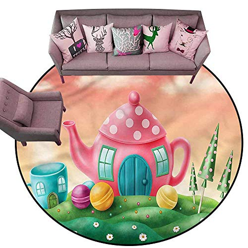 Front Mat Home Decorative Carpet Colorful Fantasy,Teapot and Teacup House Diameter 78