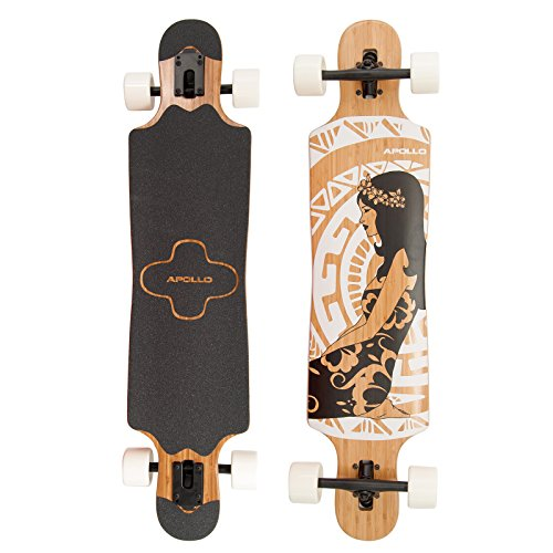 Apollo Longboard Hinano Black & White, Bambus Komplettboard, Twin-Tip Drop-Through Freeride Skaten Cruiser Board